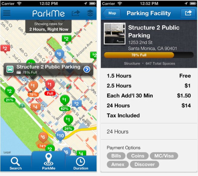 ParkMe App Screenshot