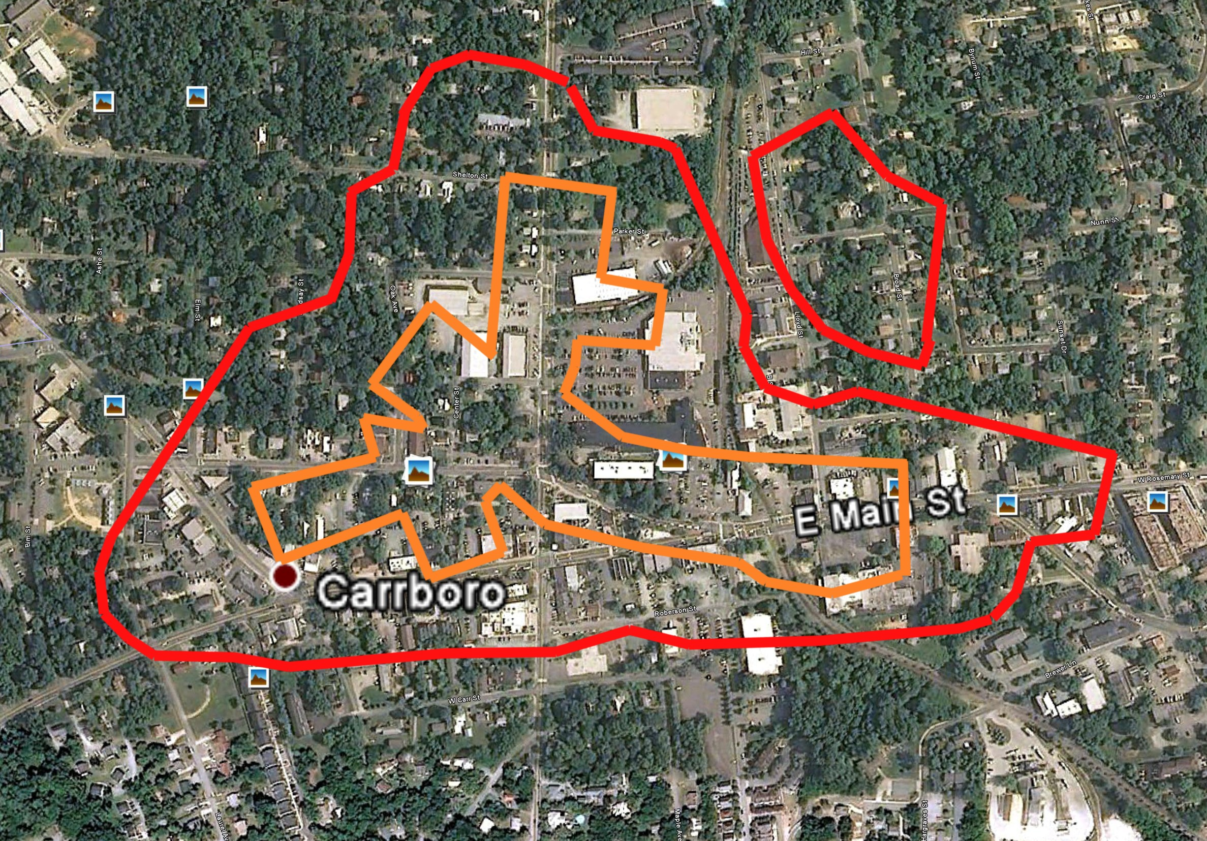Carrboro Downtown and Southpoint Mall Footprint