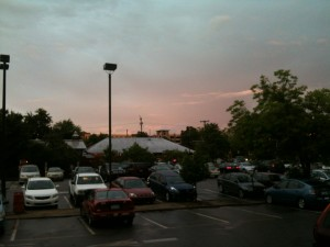Carrboro Parking Deck At Sunset from Weaver Street Market Lawn