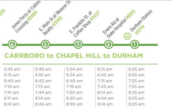 Carrboro to Durham Schedule on Route 405