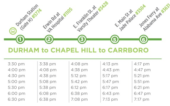 Durham to Carrboro 405 Schedule